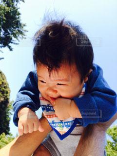 青空,子供,ピクニック,笑顔