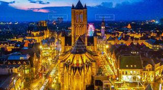 ベルギー・ゲントの夜景の写真・画像素材[1200511]