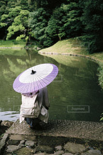 女性,傘,屋外,庭園,和傘,日本庭園,フィルム,梅雨,フィルムカメラ,日中,フォトジェニック,小石川