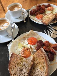 クローズ アップ食べ物の皿とコーヒー カップの写真・画像素材[1148073]