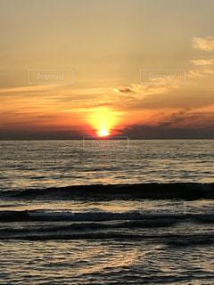 海,空,夕日,ビーチ,海岸,オレンジ