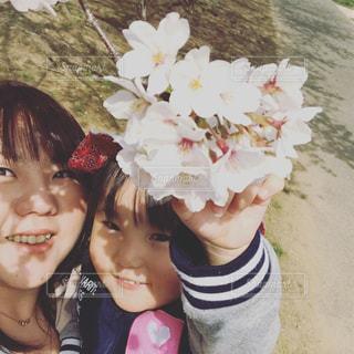 春,桜,親子,子供,お花見,母娘