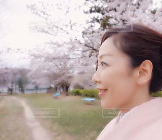 女性,自然,公園,花,春,桜,屋外,ピンク,景色,優しい,お花見,着物,横顔,人,和服,パステル,ふんわり,草木,岐阜県,50代