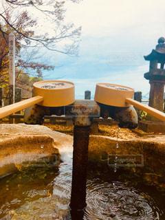 手帳水の向こうに晩秋の八代海の写真・画像素材[1602571]
