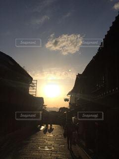 空,夕日,京都,太陽,旅行,夕陽