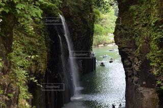 川の側の木と滝の写真・画像素材[1449113]
