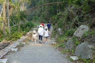 未舗装の道路を歩いて人々 のグループ - No.1171742