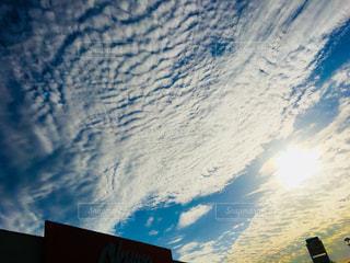 空,建物,夕焼け,うろこ雲,野外,秋空