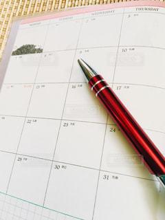 赤,白,ペン,鉛筆,手帳,新しい,スケジュール,静止,来年,真っさら