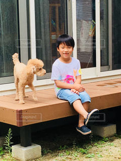犬,庭,子供,人,野外,男の子