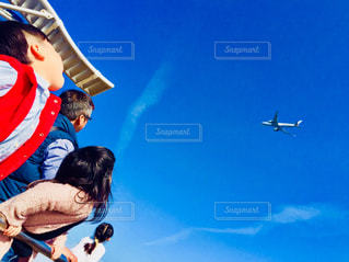 男性,空,飛行機,子供,女の子,人,男の子,人間