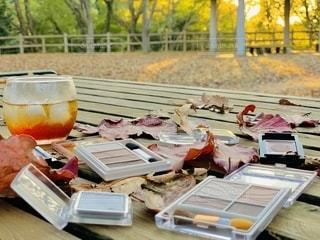 コーヒー,紅葉,屋外,枯れ葉,落ち葉,樹木,机,夕陽,美容,コスメ,化粧品,秋色,アイシャドー