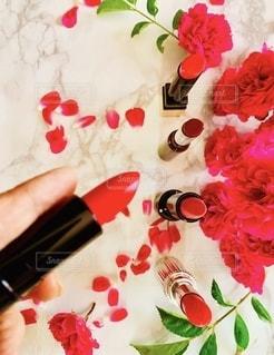 花,赤,室内,手,バラ,口紅,指,薔薇,美容,リップ,コスメ,化粧品