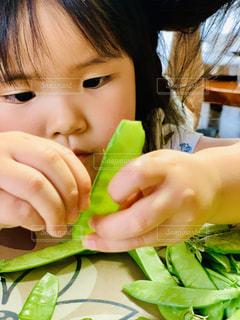 ブロッコリーを一切れ食べる子供のクローズアップの写真・画像素材[2812985]