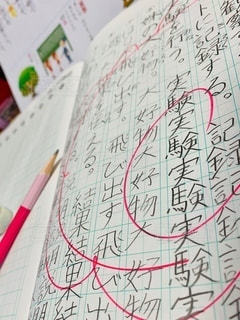 屋内,室内,消しゴム,ノート,ドリル,勉強,練習,鉛筆,手書き,自宅,漢字,テキスト,自習,学習,自宅学習,花丸