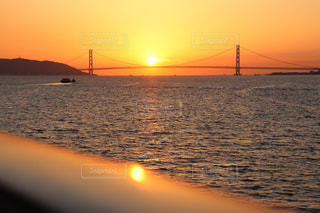 空,夕日,夕方,オレンジ,夕陽,神戸,明石海峡大橋,クルーズ,インスタ映え