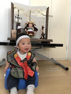 こどもの日、五月人形と赤ちゃんの写真・画像素材[1176657]