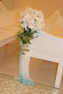 花,白,結婚式,ブーケ,タイル,ホワイト,百合,結婚式場,カサブランカ,イス