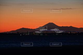 海,夕日,富士山,夕焼け,シルエット,黄昏,夕陽,東京湾,暁,ゲートブリッジ