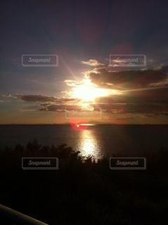 空,夏,夕日,太陽,緑,晴れ,青空,草,外,フォト