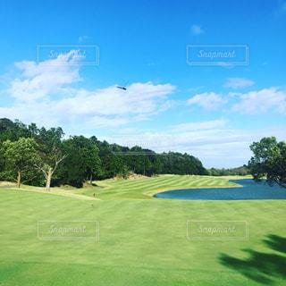 空,スポーツ,屋外,青空,トンボ,ゴルフ,ゴルフ場,快晴,秋空,日中