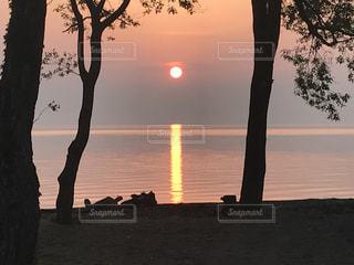 夕日,水面,琵琶湖,湖面