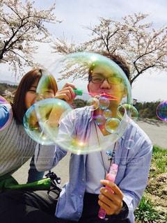 桜,シャボン玉,笑顔,福島県猪苗代町