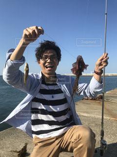 自然,海,空,雲,青空,笑顔,釣り,福島県,景観,日中