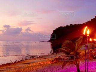 海,空,夕日,グアム島,ガンビーチ
