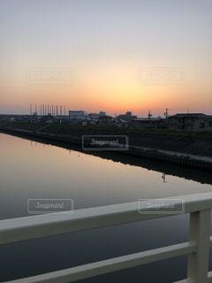 夕日,綺麗,川,景色