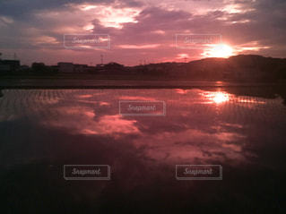 風景,空,夕日,ピンク,カラフル,夕焼け,曇り,田んぼ,水鏡,夕陽,フォトジェニック,夕映え,インスタ映え,多色