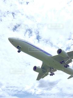 曇りの青い空を飛んでいるジェット大型旅客機の写真・画像素材[1354071]