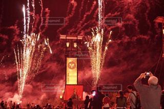 空の花火とキリコとの写真・画像素材[3658222]
