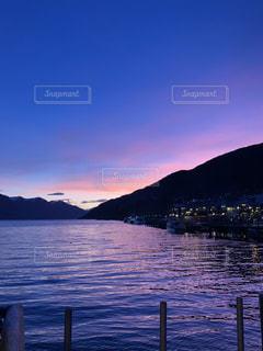 海,空,夕日,海外,雲,ニュージーランド,夕暮