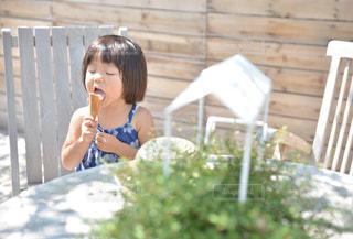 カフェ,夏,子供,アイスクリーム