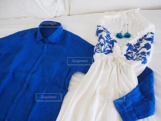 白×青の夏コーデの写真・画像素材[1334106]