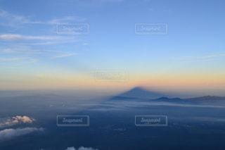 自然,空,夕日,富士山,雲,山,影