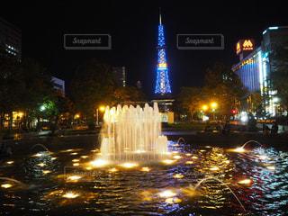 公園,夜,屋外,綺麗,水面,景色,都会,ライトアップ,噴水,未来,札幌,明るい,大通,可能性