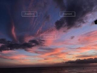 海,空,夕日,景色,ハワイ,ホノルル,ワイキキビーチ,フォトジェニック