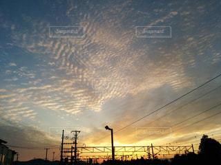 風景,空,夕日,駅,雲