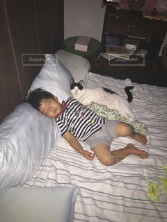 ベッドの上で横になっている人の写真・画像素材[1258129]