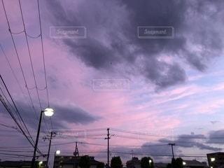 ピンク,電線,街灯,夕景