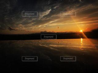 自然,空,夕日,屋外,太陽,反射,田んぼ