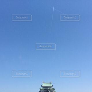 空,秋,屋外,飛行機雲,名古屋城,秋の空,日中,minimum