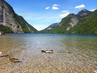 背景の山と水の大きな体の写真・画像素材[1218591]