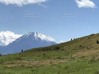 背景の山のフィールドの写真・画像素材[1217309]