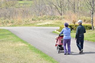仲良し夫婦、犬と一緒にお散歩。の写真・画像素材[1450443]