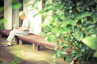 ベンチに座っている人の写真・画像素材[2435999]