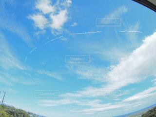 海,青空,飛行機雲,魚眼,フィッシュアイ,海と空,台風一過