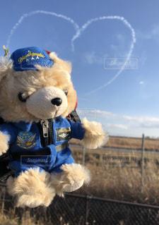 青空,ハート,飛行機雲,ブルーインパルス,基地,スモーク,クマ,訓練,キューピット,バーチカルキューピット,基地上空,スモークナウ,基地外